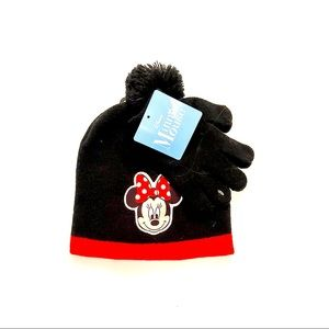 Minnie Mouse Disney toboggan pom pom hat & gloves